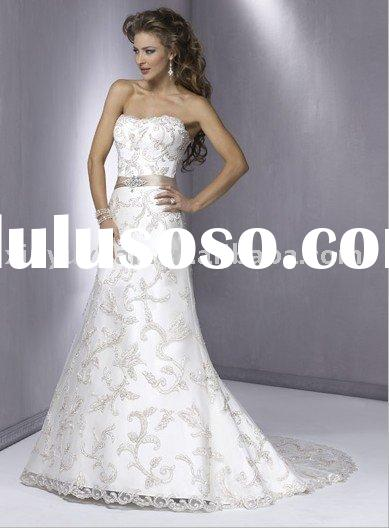 strapless, slim A-line gown , lace band wedding dress MA-065 famous designer