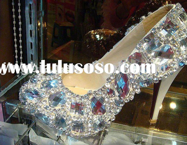 ws-009 custom make rhinestones swaroski crystals high heel shoes,stage evening shoes, bridal shoes