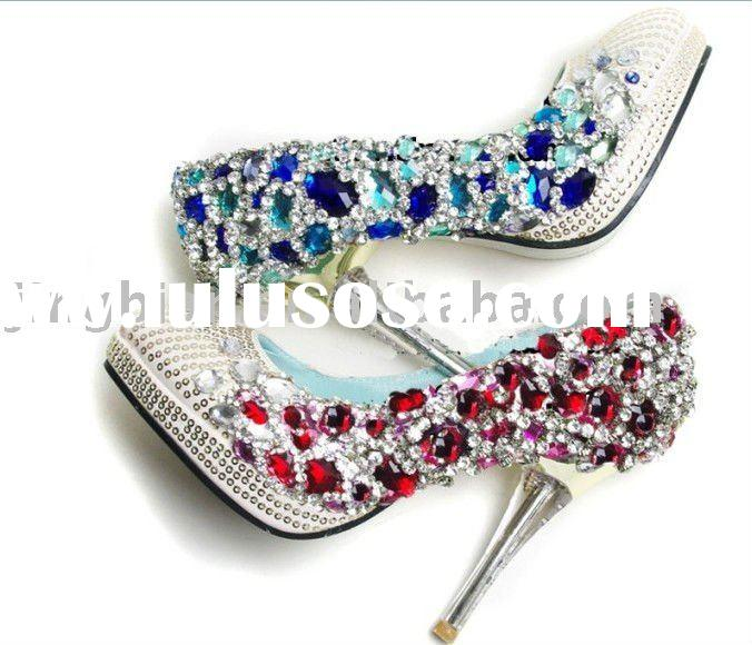 ws-013 custom makes handmade swaroski crystals rhinestones bridal wedding shoes high heel
