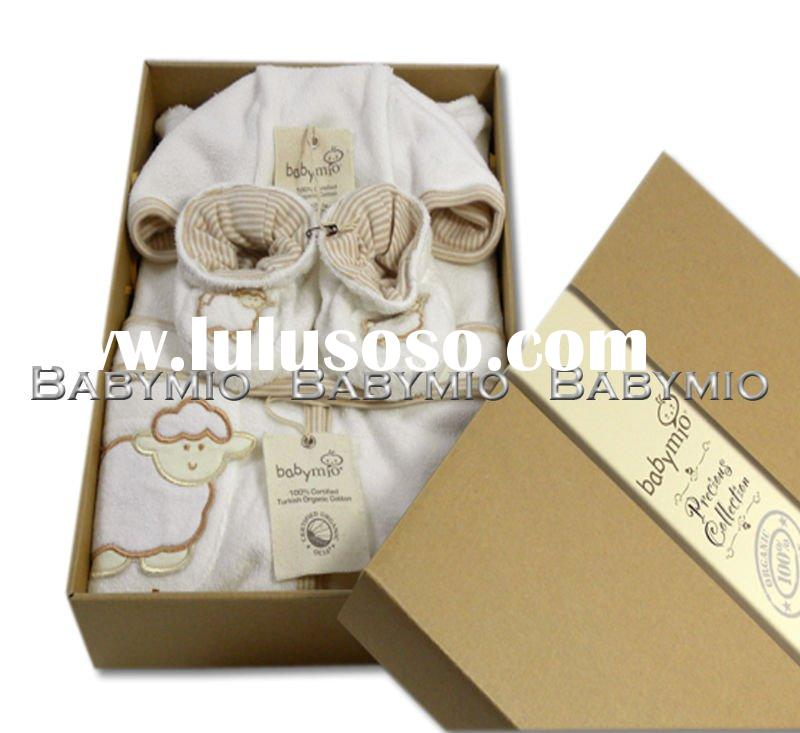 Organic Cotton Baby Bathrobe Bootie Set