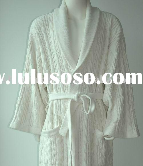chenille cable knitted bathrobe