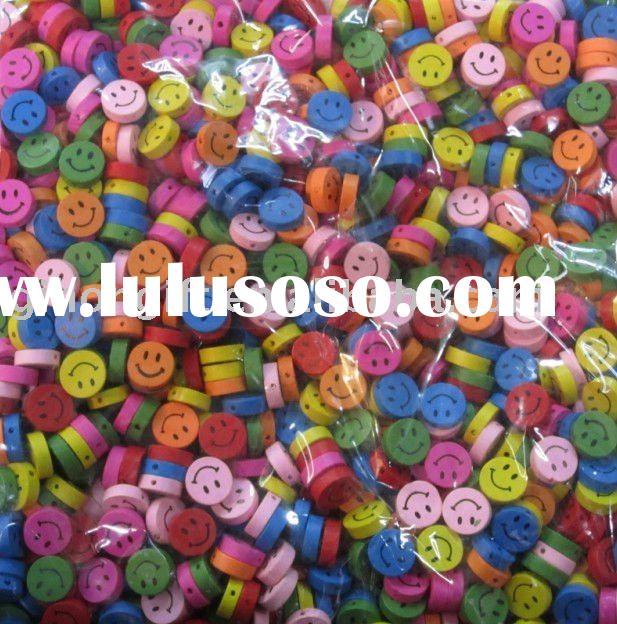 2011 colorful round smile  wooden beads