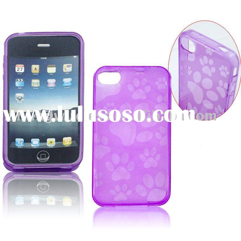 Purple Pet Paw Design Clear Plastic Case for iPhone 4