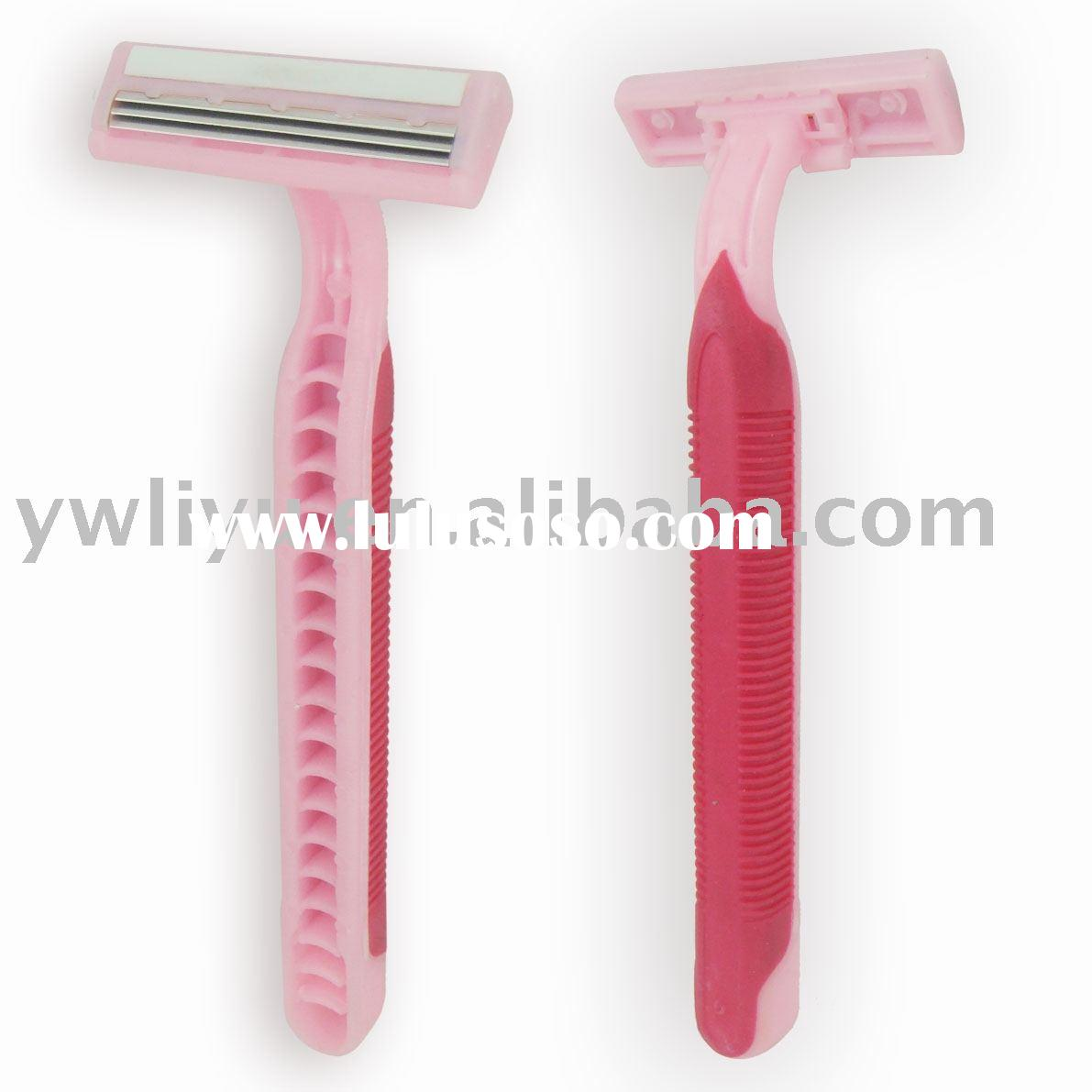 women disposable razor,triple blade disposable razor with lubricant