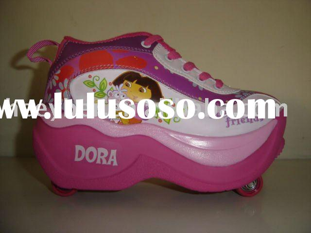 4-wheel retractable roller skate shoes,Roller shoes,flying shoes,kids shoes,Dora design,F-096