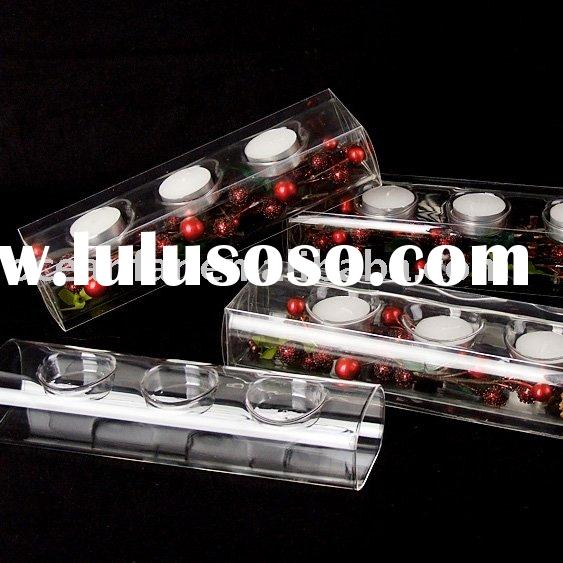 High clear square glass tube candle holders for T-light candle.