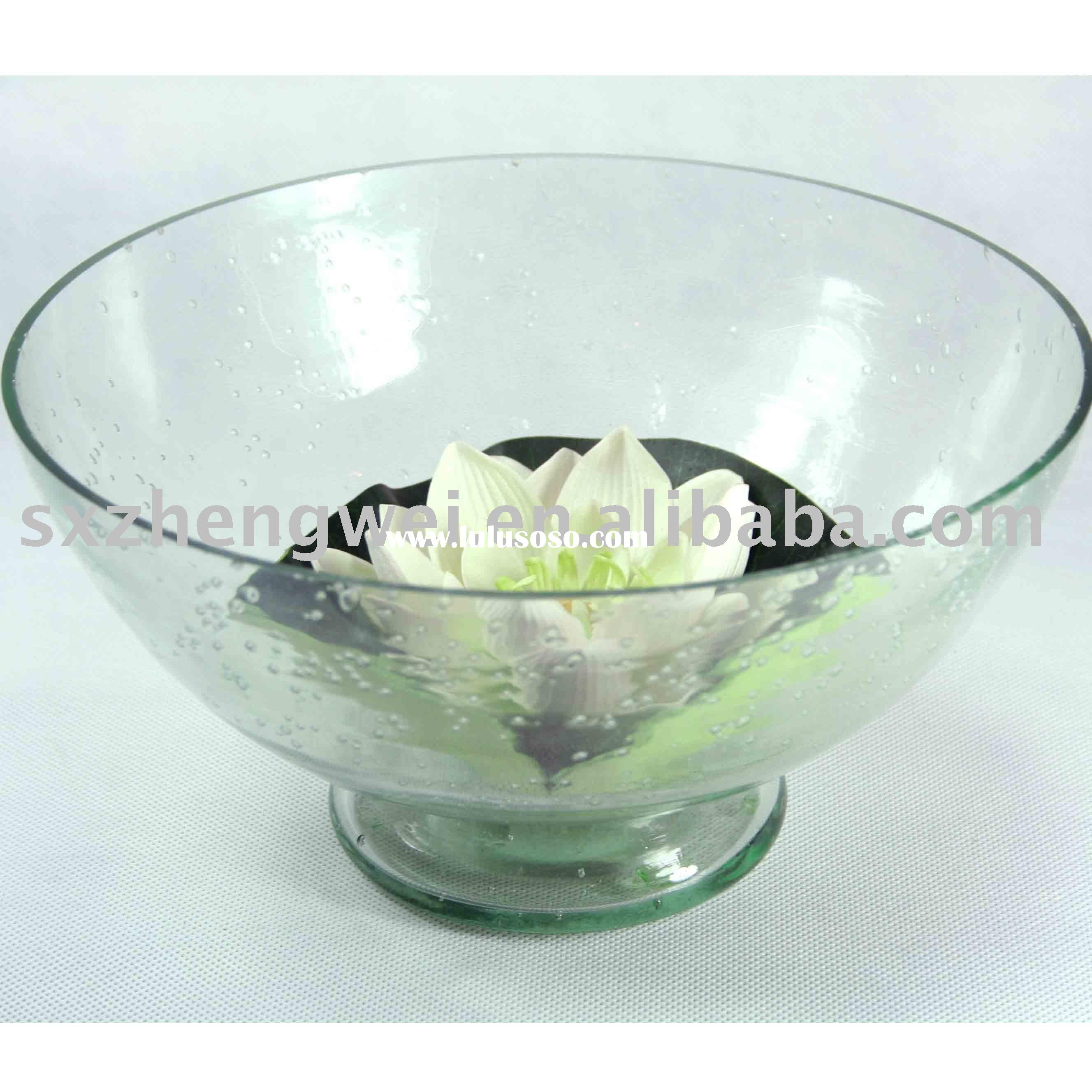 Recycled glass floating candle holder bowl