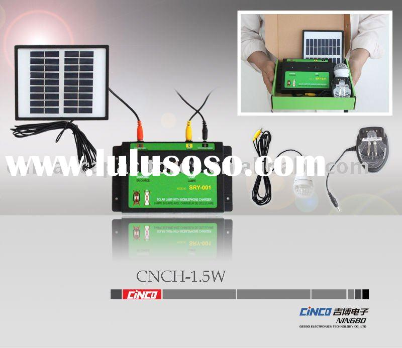 1.5W mini solar lighting system with DC lighting/ mobile phone charger
