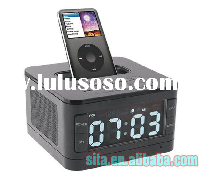Portable alarm clock radio speaker system for ipod