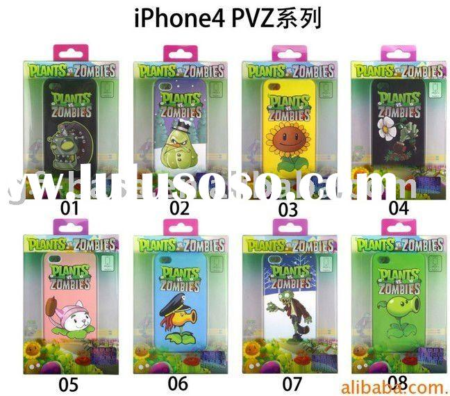 new angry birds Plants vs Zombies design for iphone 4G protector cover case