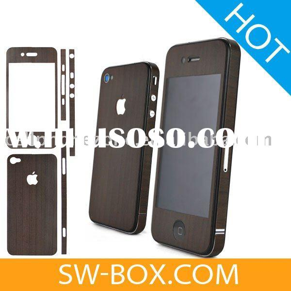 Wood Skin Sticker Cover Protector for iPhone 4 (Brown) /wood case for iphone 4