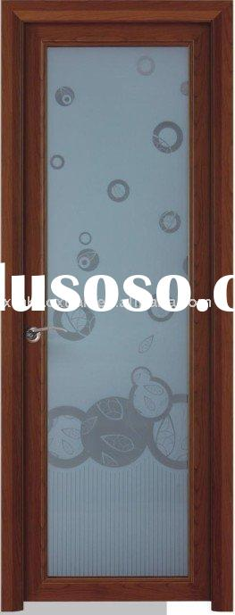 1.2mm Red cherry double glass  bathroom door with arch architecture line