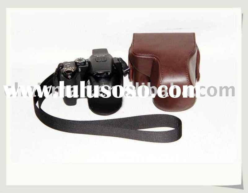 Brown  Leather camera case bag for Nikon P100