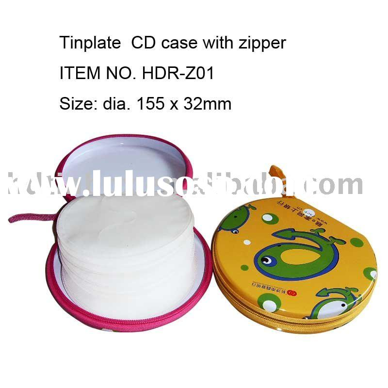 metal tin case with zipper for 12-24pcs CD