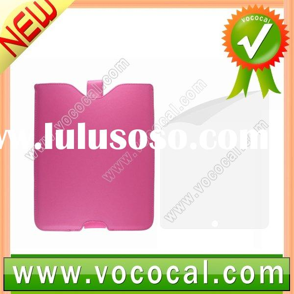 Pink Leather Case +Screen Protector for Apple iPad