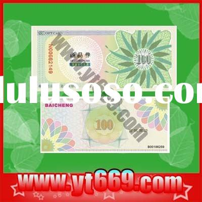 Marketable Custom design Security coupon pringting with UV printing ,fluorescent ink