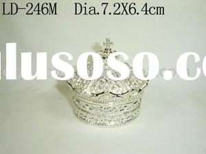 Elegant Crown Shape Silver Metal Jewelry Box