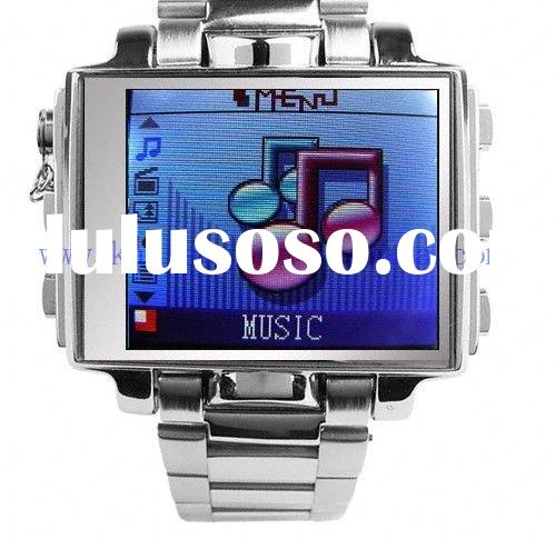 Free Shipping Ultimate Style 8GB Steel portable MP4 Player Watch - 1.8 Inch Screen