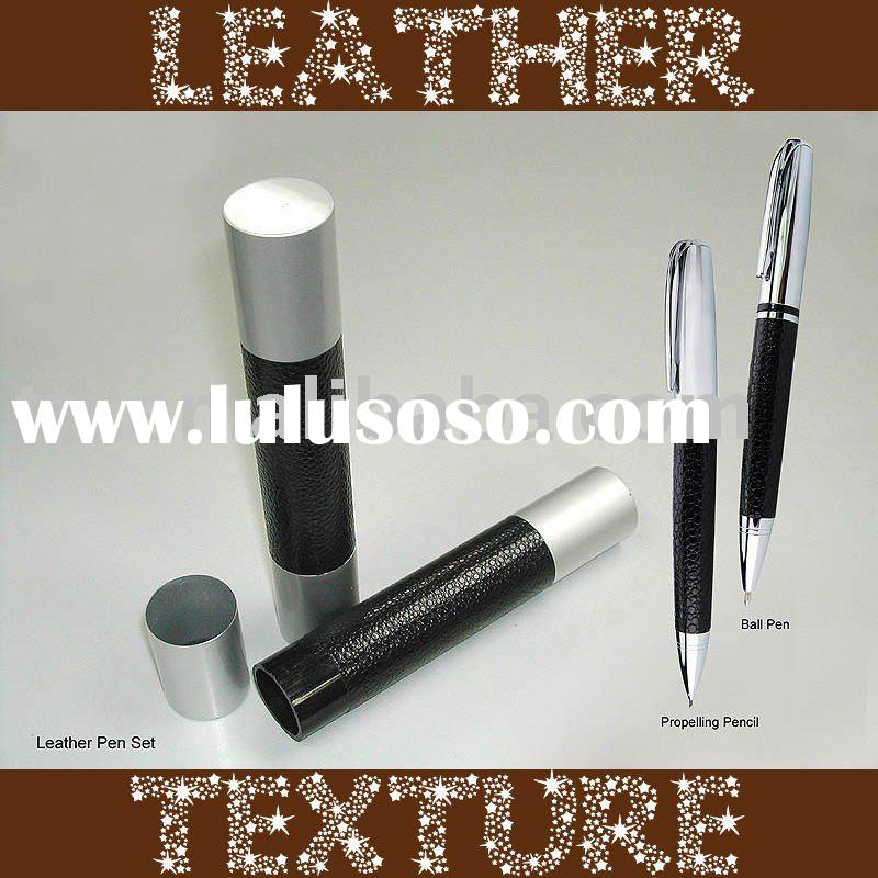 Metal Leather Pen or Propelling Pencil in Gift Box Set