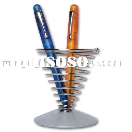 Metal pen holder with spring