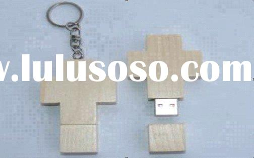 OEM promotion cross wooden usb