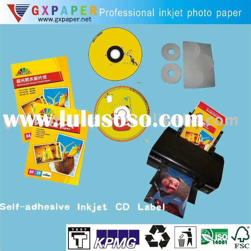 Professional Glossy Self-adhesive Inkjet CD Label,108g/128g/140g