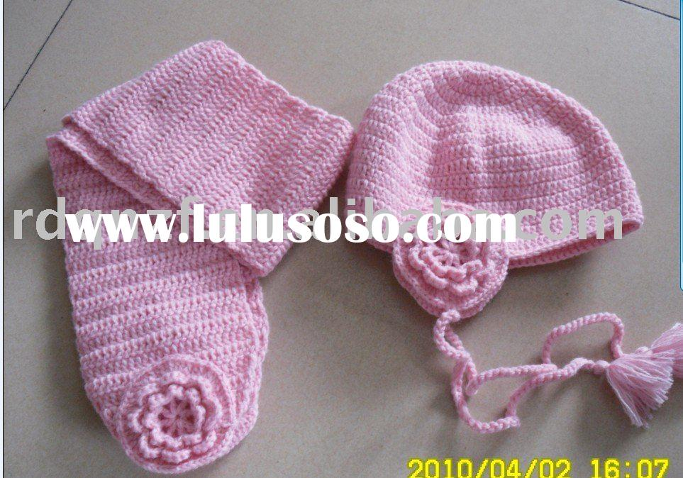 Cute pink crochet earfalp hat and scarf for babies and children