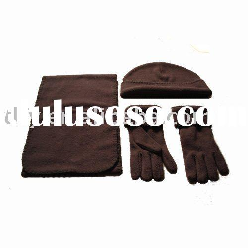 Hot sell woman polar flece winter hat scarf  gloves set
