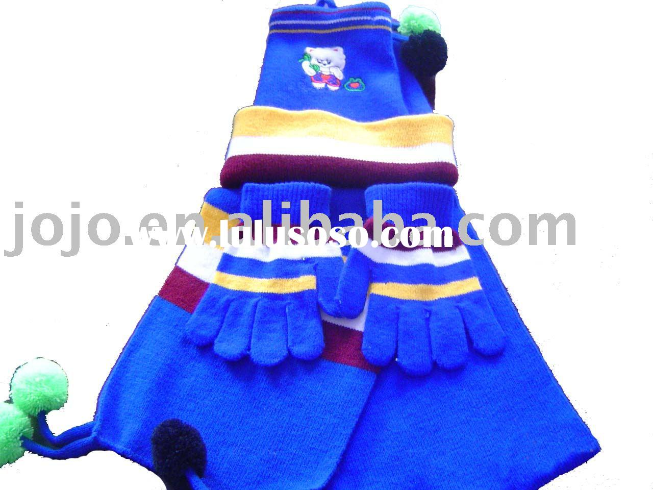 Knitted scarf glove and hat set