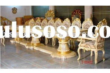 Luxury classical wooden big size dining table, dining chairs, home dining room set, hand carved