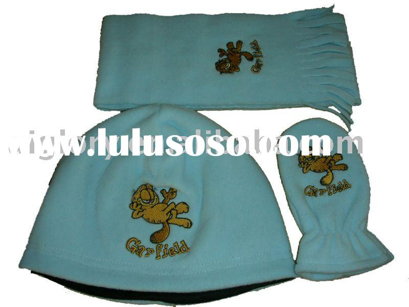 Polar fleece  glove ,scarf and hat set