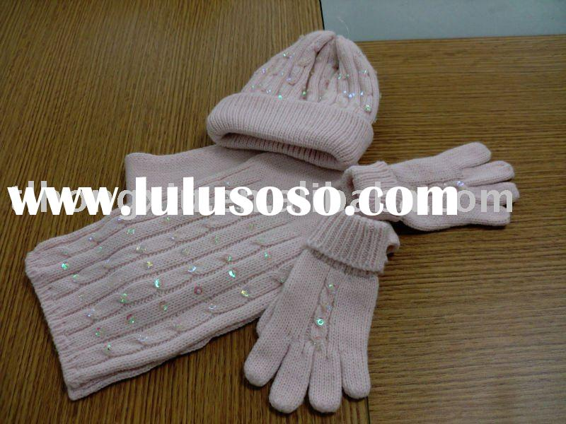 acrylic scarf hat and glove set with sequin