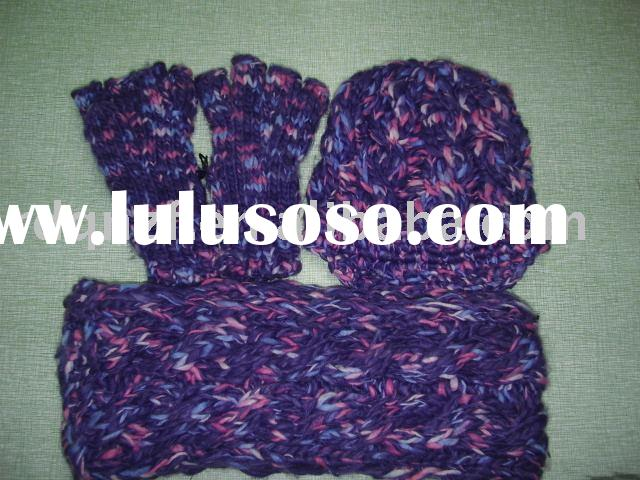 bright colorful cable knitted hat&scarf&fingerless glove set for women