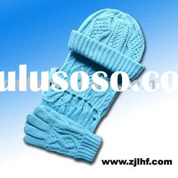 cable net knitted scarf&hat&glove set