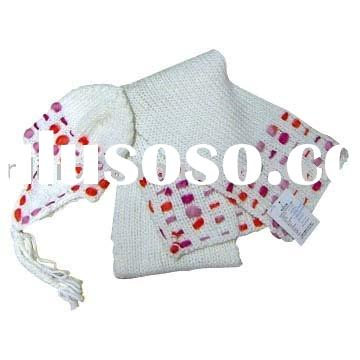 earflap hat set/knitted hat and scarf/acrylic knitted set/crochet hat and scarf
