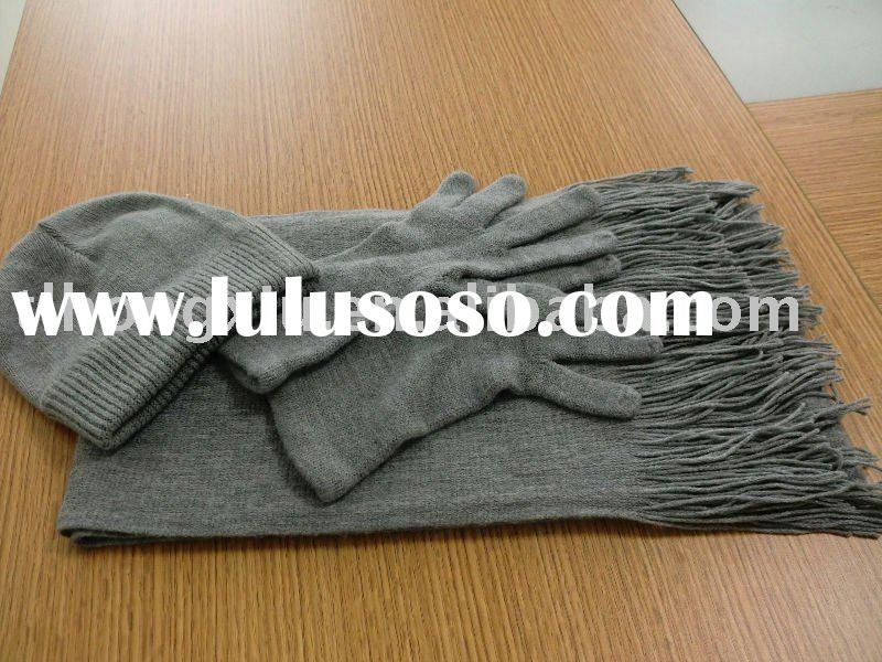 grey acrylic scarf hat and glove set