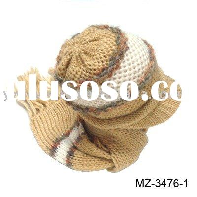 knitted hat&scarf,acrylic scarf set,knitted hat set