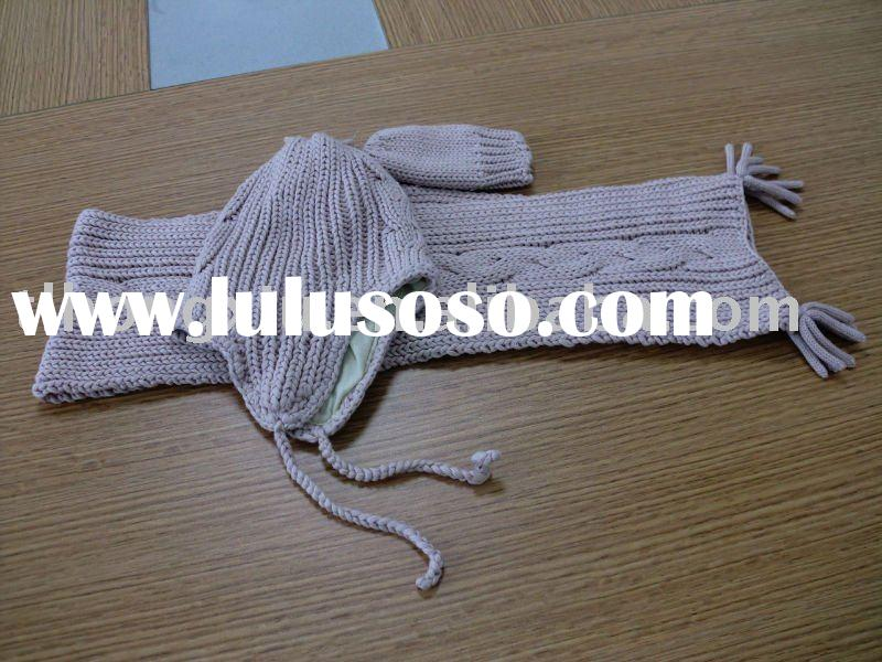 knitting scarf hat and glove three pieces sets