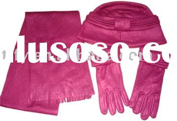 women's  hat set, fleece Scarf, hat, gloves set