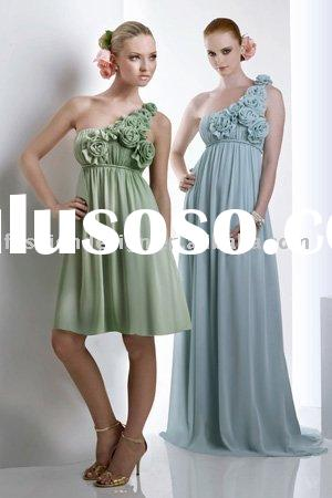 BD233 Stylish Bella chiffon one shoulder flowers straps bridesmaid dresses