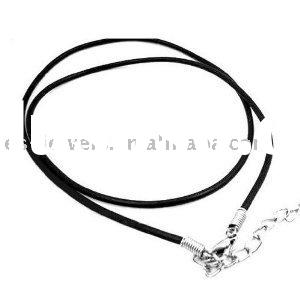 """2mm Rubber Cord Stainless Steel Clasp Chain Necklace 16"""" with 2"""" Chain Tail"""