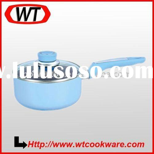 Aluminum nonstick milk pan with glass lid