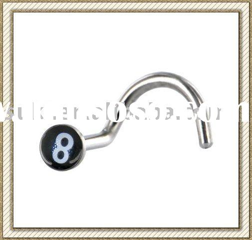Body Piercing jewelry, Surgical Steel Black and White 8 BALL Logo Nose Rin