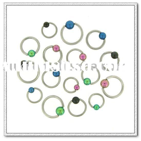 Body jewelry, 316L Surgical Steel Captives with Anodized Ball