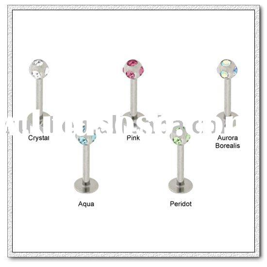 Body jewelry,316L Surgical Steel Monroe Labrets With multi-gem Ball