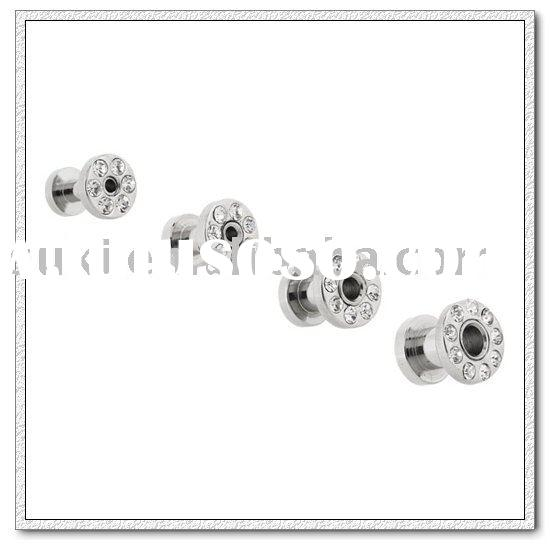 Body jewelry,316L Surgical Steel Multi-Crystal Screw Fit Flesh Tunnels