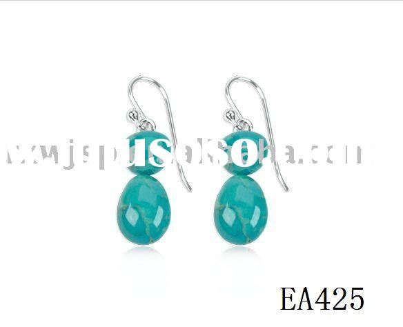 Bold Dangle Turquoise French Wire stainless steel Earrings