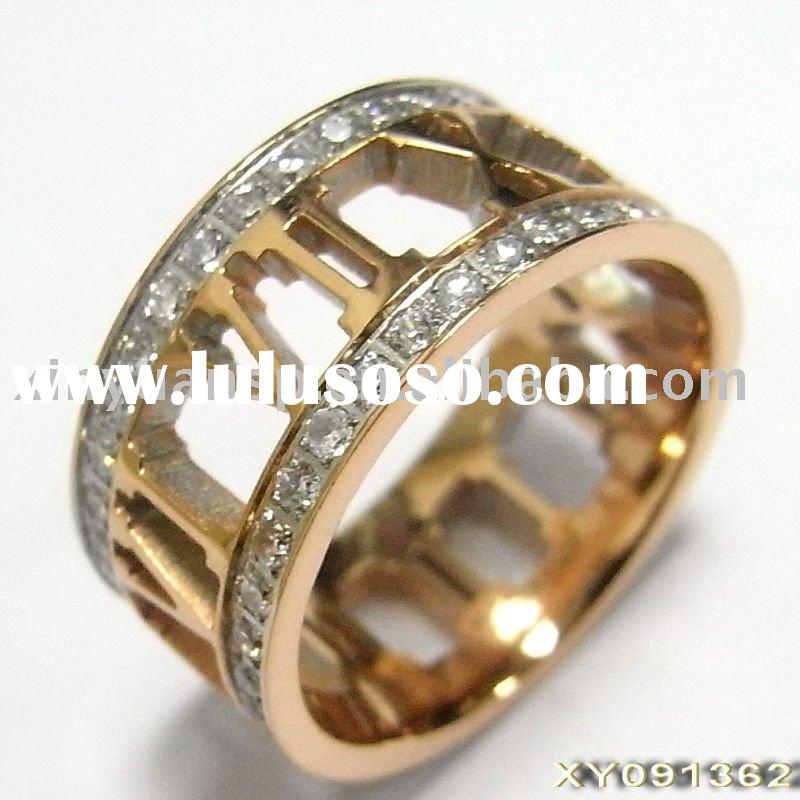 Stainless Steel Jewelry Ring With CNC Setting Zircon