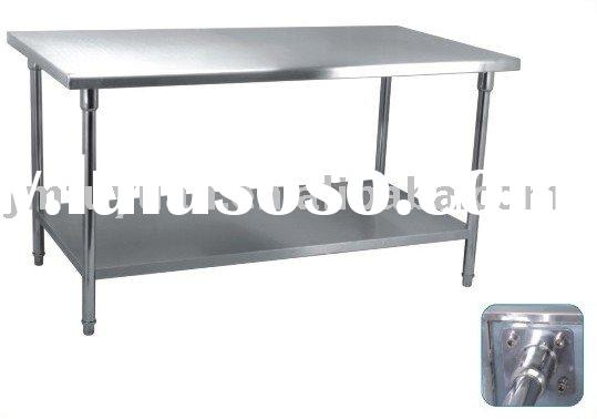 Kitchen Stainless Steel Work Table With Side Top Shelf Lip For - Stainless steel table with lip