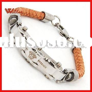 Tan Braided Leather Bracelet with Steel Clasp